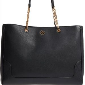 Tory Burch Marsden laptop bag tote black pebbled